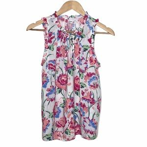 Gap Floral Sleeveless Ruffle Top White Pink Size S